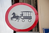 Horse and carriage street sign in Santa Clara, Cuba