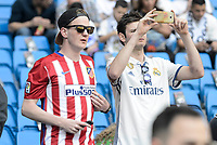 Real Madrid's supporter and Atletico de Madrid's supporter during La Liga match between Real Madrid and Atletico de Madrid at Santiago Bernabeu Stadium in Madrid, April 08, 2017. Spain.<br /> (ALTERPHOTOS/BorjaB.Hojas)