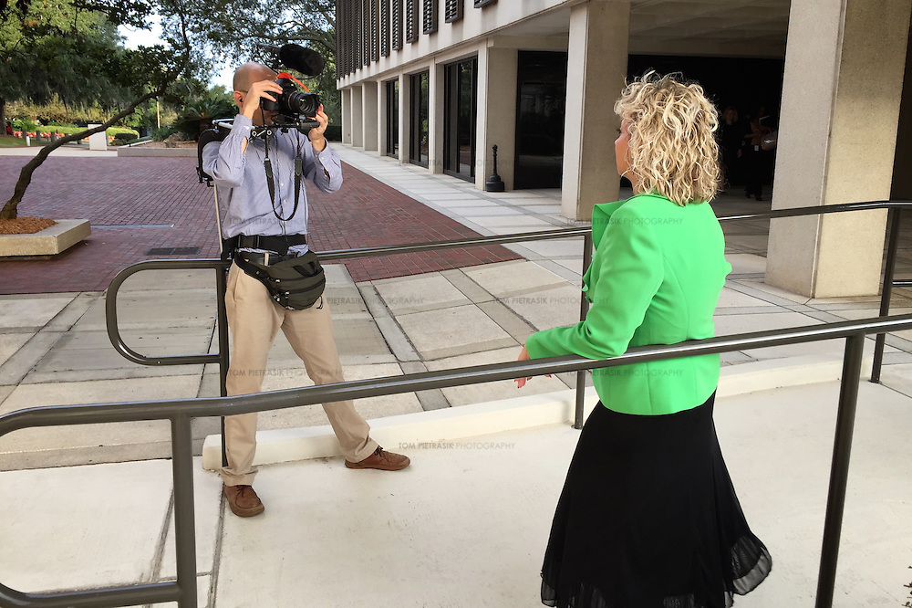 Tom Pietrasik filming Debbie Dooley. Dooley is a member of Conservatives for Energy Freedom and founder of the Tea Party. She is campaigning to promote rooftop solar in Florida. <br /> <br /> Photo: Tom Pietrasik<br /> Tallahassee, Florida<br /> USA<br /> November1 2015