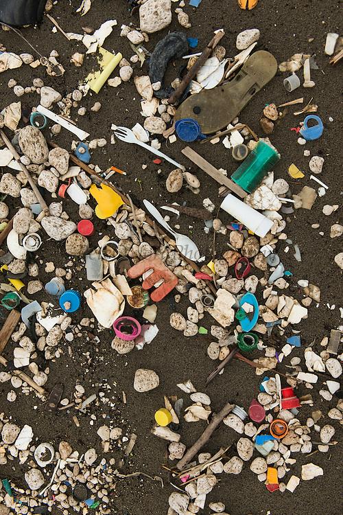 Marine Flotsam<br /> Plastic rubbish<br /> Quetzalito<br /> Guatemala<br /> Central America