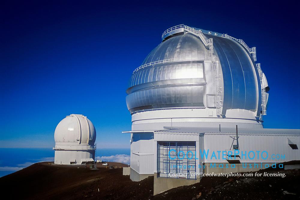 Gemini Northern 8-meter Telescope (front) and Canada-France-Hawaii Telescope (CFHT) (back), Mauna Kea Observatories, Big Island, Hawaii