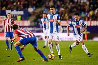 Atletico de Madrid's player Juanfran Torres and RCD Espanyol player Aaron and Hernan Perez during match of La Liga between Atletico de Madrid and RCD Espanyol at Vicente Calderon Stadium in Madrid, Spain. December 03, 2016. (ALTERPHOTOS/BorjaB.Hojas)