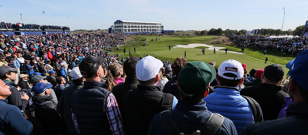 View of the 14th  during Saturday's Fourballs, at the Ryder Cup, Le Golf National, Île-de-France, France. 29/09/2018.<br /> Picture David Lloyd / Golffile.ie<br /> <br /> All photo usage must carry mandatory copyright credit (© Golffile | David Lloyd)