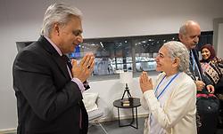 9 December 2019, Madrid, Spain: Religious leaders from a variety of faiths meet to hand over an interfaith declaration to Ovais Sarmad, deputy executive secretary of the UNFCCC, at COP25. Here, Jayanti Murli Kirpalani from Brahma Kumaris (right).
