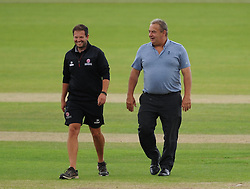 Graham Cowdrey , cricket liaison officer talks to head groundsman Simon Lee.  - Mandatory by-line: Alex Davidson/JMP - 10/07/2016 - CRICKET - Cooper Associates County Ground - Taunton, United Kingdom - Somerset v Middlesex - Specsavers County Championship Division One