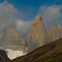 Clouds swirl around The Towers of Paine in Torres del Paine National Park, Chile