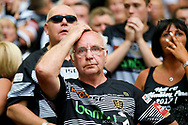 Anxious Hull FC fans at the end of  the Ladbrokes Challenge Cup Final 2017 match between Hull RFC and Wigan Warriors at Wembley Stadium, London, England on 26 August 2017. Photo by Simon Davies.