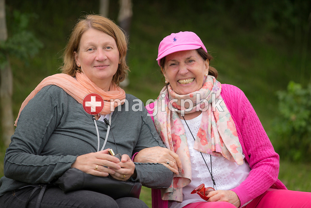 Iris Rebilas (L) and Margrit Hugi pose for a photo during the seminar 7 Levels of Letting Go at the Heart Chakra on the Chakra Path at Shire Farm in Hagworthingham, Lincolnshire, Great Britain, Friday, June 20, 2014. (Photo by Patrick B. Kraemer / MAGICPBK)