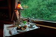 Afternoon tea is served on the luxurious train the Orient Express.