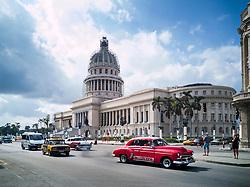 Old Havana, Cuba. Havana vieja, street. El Capitolio, exhaust gas.