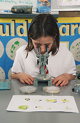 Primary school girl looking at specimens through microscope in biology lesson,