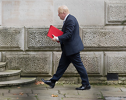 © Licensed to London News Pictures. 10/10/2017. Foreign Secretary Boris Johnson arrives at the Foreign Office before attending the weekly cabinet meeting in Downing Street. London, UK. Photo credit: Peter Macdiarmid/LNP