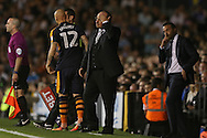 Rafa Benitez, the Newcastle United manager reacts as he holds his head while lookng on from the touchline. Skybet EFL championship match, Fulham v Newcastle Utd at Craven Cottage in Fulham, London on Friday 5th August 2016.<br /> pic by John Patrick Fletcher, Andrew Orchard sports photography.
