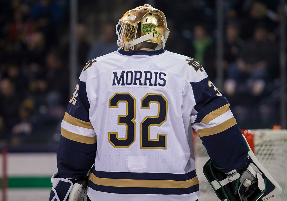 January 25, 2019:  Notre Dame goaltender Cale Morris (32) during NCAA Hockey game action between the Michigan State Spartans and the Notre Dame Fighting Irish at Compton Family Ice Arena in South Bend, Indiana.  Notre Dame defeated Michigan State 6-3.  John Mersits/CSM