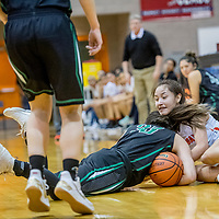 Farmington Scorpion Chloe Finch (33), left, and Gallup Bengal Ashley Antone (1) tie up for a jump ball at Gallup High School Saturday.
