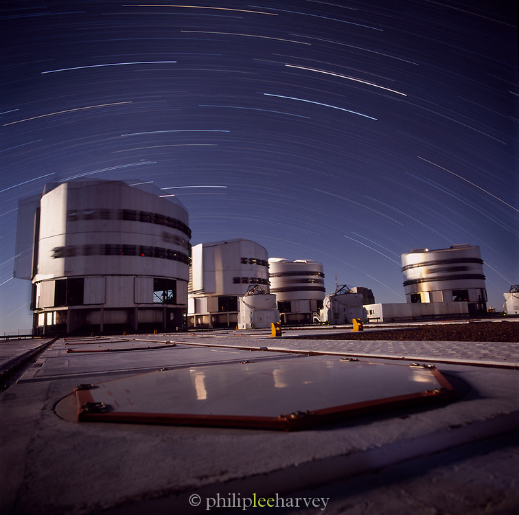 Star trails above the 'Very Large Telescope', Cerro Paranal in the Atacama Desert of northern Chile.