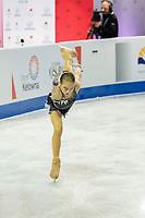 KELOWNA, BC - OCTOBER 25:  Russian figure skater Alexandra Trusova competes at Skate Canada International in the ladies short program at Prospera Place on October 25, 2019 in Kelowna, Canada. (Photo by Marissa Baecker/Shoot the Breeze)