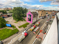 Several fire tenders responded to a fire at Smoking World on the Gallogate.  Locals had reported fireworks exploding before the fire service arrived. The opposite gable end of the building is home to one of the Billy Connolly murals that decorate the city