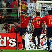 Spain's Hierro celebrates scoring from the penalty spot