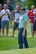 Matt Fitzpatrick (ENG) reacts to barely missing his putt on 17 during 2nd round of the World Golf Championships - Bridgestone Invitational, at the Firestone Country Club, Akron, Ohio. 8/3/2018.<br /> Picture: Golffile | Ken Murray<br /> <br /> <br /> All photo usage must carry mandatory copyright credit (© Golffile | Ken Murray)