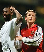 Fotball. Premier League. 29.04.2002.<br /> Bolton v Arsenal 0-2.<br /> Patrick Vieira og Ray Parlour, Arsenal.<br /> Foto: Anderw Cowie, Digitalsport