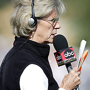 PALM DESERT, CA- January 22, 2006:  ABC Sports golf commentator Judy Rankin work at the Bob Hope Chrysler Classic in Palm Desert, California on January 22, 2006.  (Photo by Todd Bigelow/Aurora)