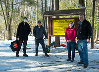 "Scott Jarvis and Eric Benevides had the pleasure of meeting Chris Daigle's parents Lorraine and Jeff Daigle as they set off on their daily ""lunch break"" round of disc golf on Friday afternoon.  (Karen Bobotas Photo/for The Laconia Daily Sun)"