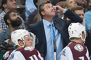 DALLAS, TX - SEPTEMBER 26:  Head coach Patrick Roy of the Colorado Avalanche looks on against the Dallas Stars in an NHL preseason game on September 26, 2013 at the American Airlines Center in Dallas, Texas.  (Photo by Cooper Neill/Getty Images) *** Local Caption *** Patrick Roy