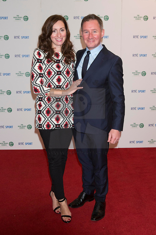 Repro Free: 21/12/2013 <br /> Jim Gavin Dublin Manager with wife Jennifer pictured at the RTE Sports Awards in Association with the Irish sports Council. Picture Andres Poveda