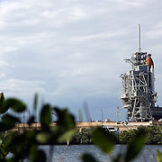 Space shuttle Discovery sits on the pad before it is scrubbed for launch after cracks in the external tanks are discovered at the Kennedy Space Center in Cape Canaveral, Fla. on November 2, 2010. (AP Photo/Alex Menendez)