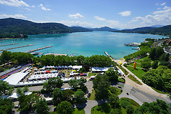 25.06.2015, Metnitzstrand, Klagenfurt am Wörthersee, AUT, Ironman Austria 2015, Vorberichte, im Bild Luftbild vom Wörthersee, Übersicht auf das Startgelände zum Ironman // Airpicture, overview of the lake Woerther lake and the start area during preperation the 2015 Ironman Austria at the Metnitzstrand, Klagenfurt, Austria on 2015/06/25. EXPA Pictures © 2015, PhotoCredit: EXPA/ Gert Steinthaler