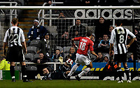 Photo: Jed Wee/Sportsbeat Images.<br /> Newcastle United v AZ Alkmaar. UEFA Cup. 08/03/2007.<br /> <br /> Newcastle goalkeeper Shay Given spreads himself to stop a penalty from Alkmaar's Moussa Dembele, but Alkmaar score from the rebound.