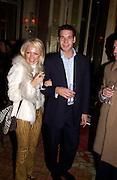 Archie Keswick and Hannah Sandling, The Tatler Travel Awards, Ritz. 9 January 2003.  © Copyright Photograph by Dafydd Jones 66 Stockwell Park Rd. London SW9 0DA Tel 020 7733 0108 www.dafjones.com