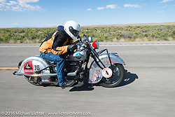 Mark Hill riding his 1936 Indian Four during stage 11 (289 miles) of the Motorcycle Cannonball Cross-Country Endurance Run, which on this day ran from Grand Junction, CO to Springville, UT., USA. Tuesday, September 16, 2014.  Photography ©2014 Michael Lichter.