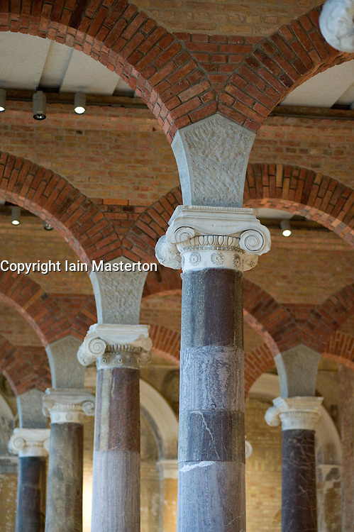 Columns and arches in the Modern Room of newly renovated Neues Museum in Berlin 2009 Architect David Chipperfield