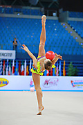 Bezzoubenko Patricia during qualifying at ball in Pesaro World Cup 10 April 2015.<br /> Patricia was born on 21 February, 1997 a retired individual Canadian rhythmic gymnast.