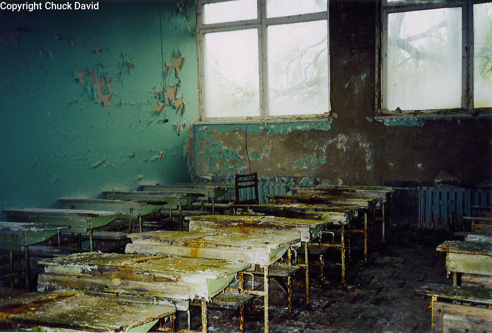 Desks in Pripyat's elementary school blister and decay more than two decades after Chernobyl's reactor meltdown forced the evacuation of the city.
