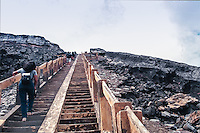 Java, East Java, Mount Bromo. Climbing the stairs to the crater edge.