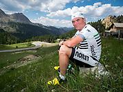 Bernard Hinault coach des cyclistes du team SKODA  amateur  pour participer a l'étape du tour quelques jours avant le tours de France 2017<br /> Portrait de Bernard Hinault avant le col d'Izoard