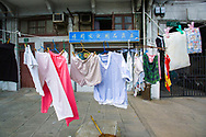 Laundry hangs to dry in the Hongkou district of Shanghai, China.
