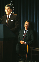Aug 12, 1988; Washington, DC, USA; President GEORGE BUSH SR. and Former President RONALD REAGAN give a speech to honor the employees of the White House.  (Credit Image: © Arthur Grace/ZUMAPRESS.com)