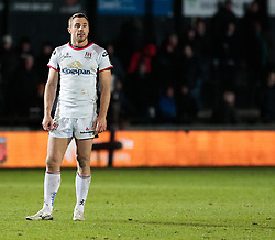 Ulster Rugby's Tommy Bowe<br /> <br /> Photographer Simon King/Replay Images<br /> <br /> Guinness Pro14 Round 10 - Dragons v Ulster - Friday 1st December 2017 - Rodney Parade - Newport<br /> <br /> World Copyright © 2017 Replay Images. All rights reserved. info@replayimages.co.uk - www.replayimages.co.uk