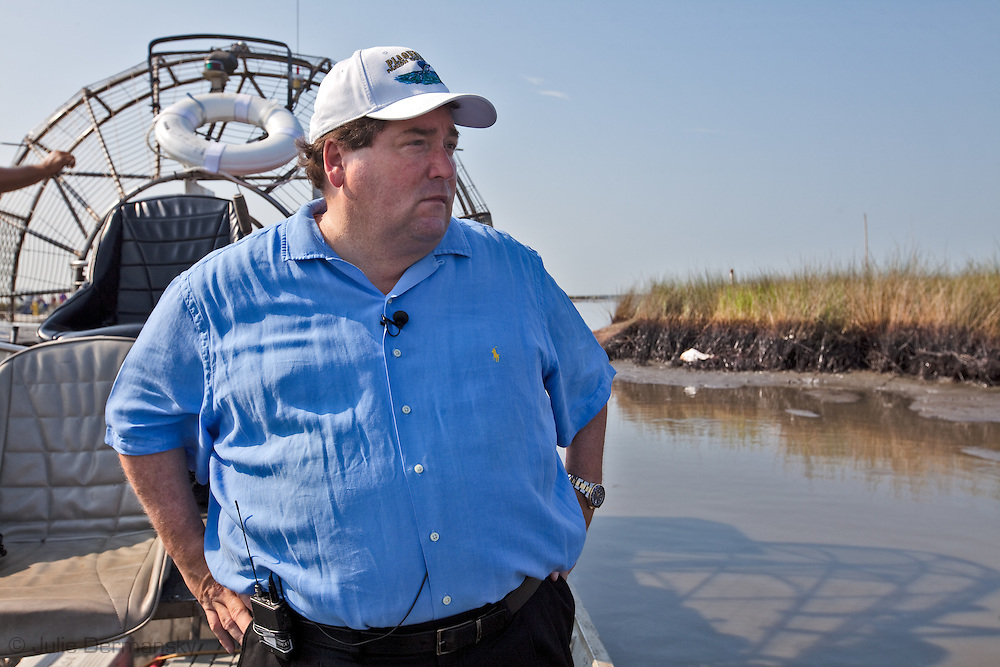 July, 7, 2010, Billy Nungesser tours Barrataria Bay with members of the media to show that there is plenty of  BP oil from the spill still affecting the coast while expressing his outrage that assets are being pulled out of the region despite claims  Thad Allen and BP made that they would not be pulled out until parish presidents were spoken to directly. Barataria Bay is at the edge of the Gulf Of Mexico/