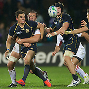Max Evans, Scotland, (left) in action during the Scotland V Georgia Pool B match  during the IRB Rugby World Cup tournament.  Invercargill, New Zealand, 14th September 2011. Photo Tim Clayton...