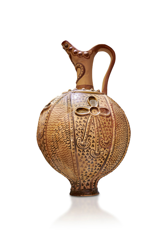 Minoan decorated ritual ewer with a sacral knot relief , Konssos-Little Palace 1450-1370 BC; Heraklion Archaeological  Museum, white background .<br /> <br /> If you prefer to buy from our ALAMY PHOTO LIBRARY  Collection visit : https://www.alamy.com/portfolio/paul-williams-funkystock/minoan-art-artefacts.html . Type -   Heraklion   - into the LOWER SEARCH WITHIN GALLERY box. Refine search by adding background colour, place, museum etc<br /> <br /> Visit our MINOAN ART PHOTO COLLECTIONS for more photos to download  as wall art prints https://funkystock.photoshelter.com/gallery-collection/Ancient-Minoans-Art-Artefacts-Antiquities-Historic-Places-Pictures-Images-of/C0000ricT2SU_M9w