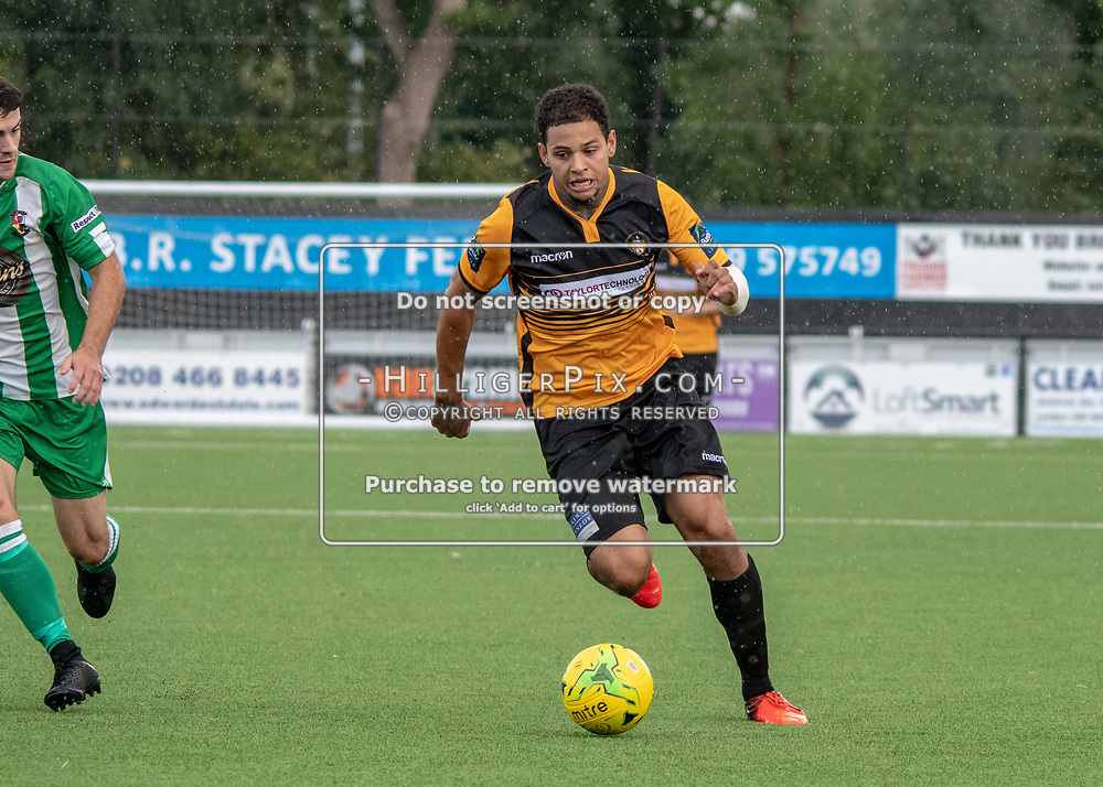 BROMLEY, UK - AUGUST 25: <br /> Aaron Rhule (Cray Wanderers) runs down the wing during the FA Cup Preliminary Round match between Cray Wanderers and Rusthall at Hayes Lane on August 25, 2018 in Bromley, UK. (Photo: Jon Hilliger / Cray Wanderers)