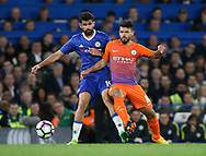 Chelsea's Diego Costa tussles with Manchester City's Sergio Aguero during the Premier League match at the Stamford Bridge Stadium, London. Picture date: April 5th, 2017. Pic credit should read: David Klein/Sportimage