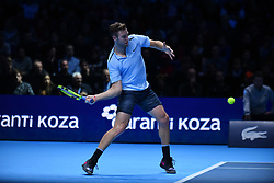 November 12, 2017 - London, United Kingdom - Jack Sock of the USA plays the opening singles round robin match against Roger Federer of Switzerland during the Nitto ATP World Tour Finals at O2 Arena, London on November 12, 2017. (Credit Image: © Alberto Pezzali/NurPhoto via ZUMA Press)