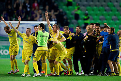 Players of Domzale celebrate after winning the football match between NK Domzale and NK Maribor in final match of Hervis Cup, on May 25, 2011 in SRC Stozice, Ljubljana, Slovenia. Domzale defeated Maribor and became Slovenian Cup Champion 2011. (Photo By Vid Ponikvar / Sportida.com)