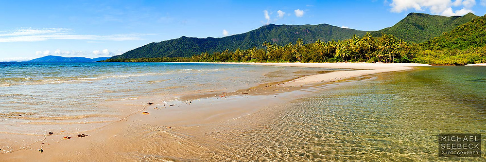 Gentle waves wash over a sand spit adjacent to the mouth of Myall Creek, on Myall Beach, Cape Tribulation<br /> <br /> Code: HAQT0028<br /> <br /> Limited Edition of 125 Prints